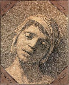 Etude de David d'après nature de la tête de Jean-Paul Marat assassiné le 13 juillet 1793 ©Wikipédia
