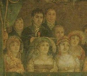 Détail du Sacre de Napoléon. 2ème à partir de la gauche, David dessinant le couronnement, à ses côtés son élève Rouget 1808 ©Musée du Louvre