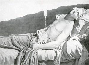 Les derniers moments de Michel Lepeletier, gravure d'Anatole Desvoge d'après le tableau de David