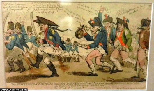 Caricature anglaise critiquant la retraite des Autrichiens à Valmy (les sans culottes, à droite, représentés sans pantalons, poursuivent l'ennemi souffrant de diarrhée), 1792, Deutsches historisches muséum, Berlin